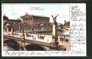 Lithographie Berlin, Nationalgallerie und Kaiser Friedrich-Brücke