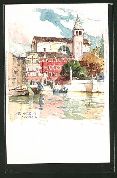 Künstler-AK Manuel Wielandt: Venezia, S. Vitale, Uferblick