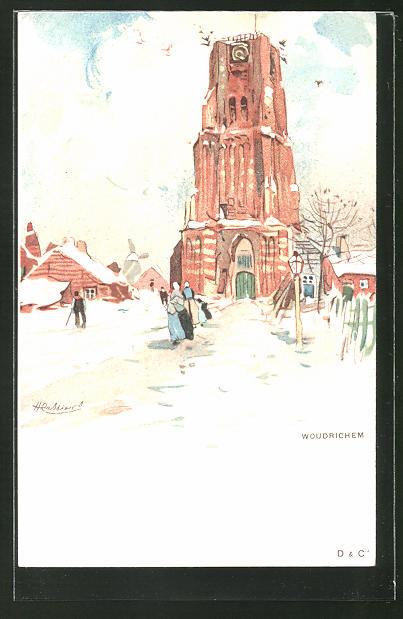 Künstler-AK Henri Cassiers: Woudrichem, Winterpartie mit Kirche
