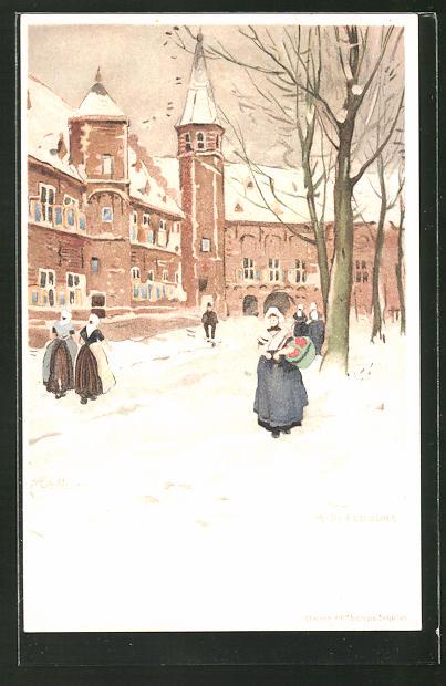 Künstler-AK Henri Cassiers: Middlebourg, Winterpartie mit Strassenleben