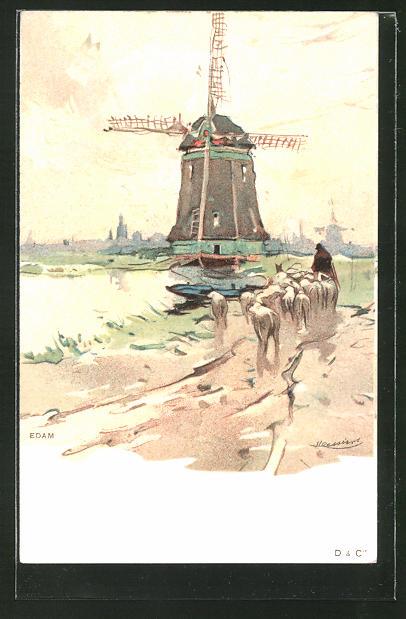 Künstler-AK Henri Cassiers: Edam, Hirte mit Schafherde an der Windmühle