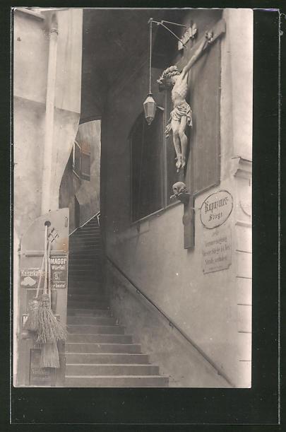 AK Salzburg, Aufgang zum Kapuzinerberg mit Emailleschild