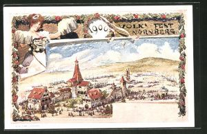 Künstler-AK Ganzsache Bayern PP15C28: Nürnberg, Volksfest 1900, Festgelände