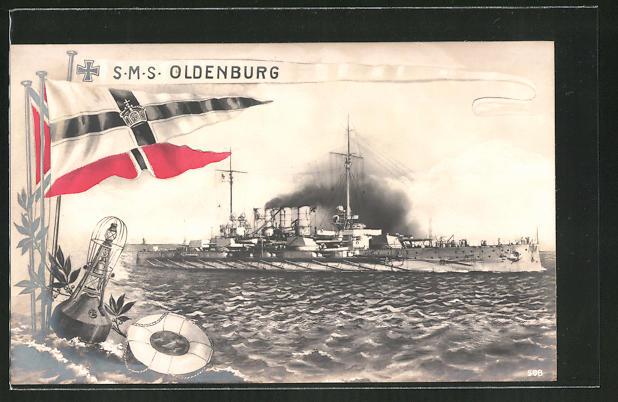 AK Kriegsschiff S.M.S. Oldenburg unter Volldampf