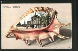 Passepartout-Lithographie Hamburg-St.Georg, Deutsches Schauspielhaus an der Kirchenallee, Ansicht auf Muschel