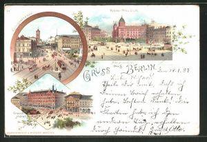 Lithographie Berlin, Grand Hotel, Alexanderplatz, Polizei-Präsidium, Königsstrasse