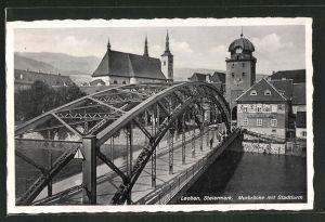 AK Leoben, Murbrücke mit Stadtturm