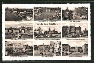 AK Stettin, Hafen, Ufa-Palast am Paradeplatz & Provinzialregierung
