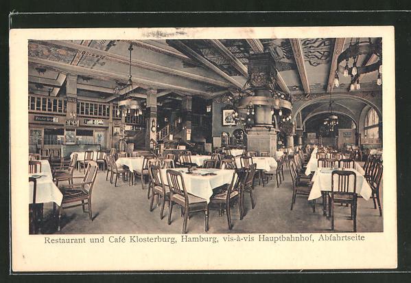 ak hamburg restaurant caf klosterburg glockengiesserwall nr 7974391 oldthing. Black Bedroom Furniture Sets. Home Design Ideas