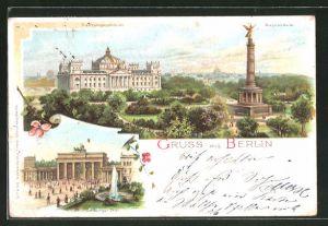 Lithographie Berlin-Tiergarten, Brandenburger Tor, Reichstagsgebäude und Siegessäule