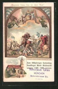 Lithographie München-Sendling, 200jähriger Gedenktag der Sendlinger Mord-Weihnacht 1905