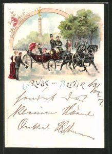 Lithographie Berlin-Tiergarten, Kaiserin Auguste Viktoria bei einer Kutschfahrt an der Siegessäule
