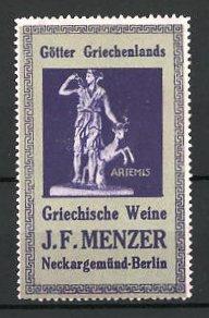 Reklamemarke Griechische Weine der Firma Menzer, Artemis - Göttin der Jagd