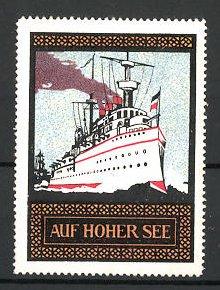 Reklamemarke Kriegsschiff auf hoher See