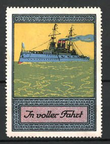 Reklamemarke Kriegsschiff in voller Fahrt