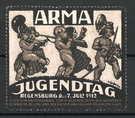 Künstler-Reklamemarke Zacharias, Regensdorf, Arma-Jugendtag 1912, Kinder als Soldaten