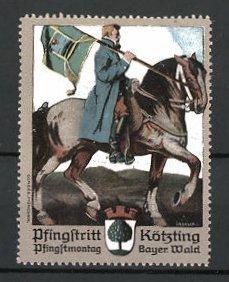 Künstler-Reklamemarke Kötzting, Pfingstritt, Reiter mit Fahne