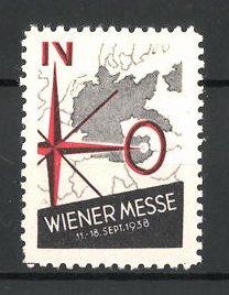 Reklamemarke Wien, Wiener Messe 1938, Landkarte & Windrose
