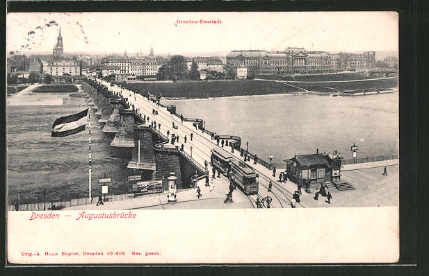 AK Dresden-Neustadt, Augustusbrücke mit Strassenbahn