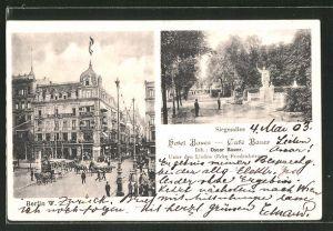 AK Berlin, Siegesallee und Hotel und Cafe Bauer Inh. Oscar Bauer, Unter den Linden Ecke Friedrichstrasse