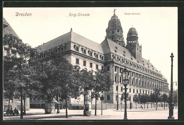 AK Dresden, Ringstrasse mit Neues Rathaus