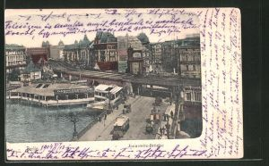 AK Berlin, Blick zur Jannowitzbrücke, Dampferstation