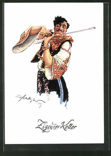 AK Berlin-Charlottenburg, Zigeuner-Keller, Zigeuner spielt Geige