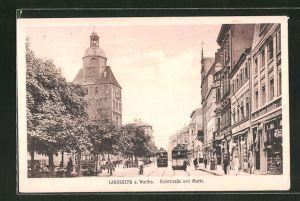 AK Landsberg / Gorzow Wlkp, Richtstrasse und Markt, Strassenbahn