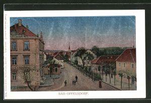 Luna-AK Bad Oppelsdorf, Strassenpartie mit Gasthof zum Curhaus