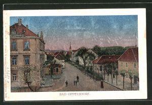 Luna-AK Bad Oppelsdorf, Motiv am Gasthof zum Curhaus