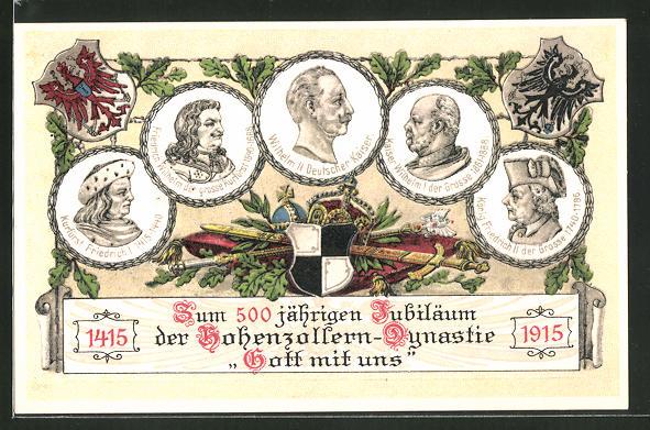 Präge-AK Zum 500 jähr. Bestehen der Hohenzollern-Dynastie - Gott mit uns!, 1415 - 1915