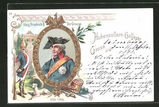 Lithographie Hohenzollern-Galerie, Kaiser König Friedrich II., der Grosse, 1740 - 1786