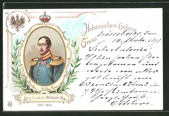 Lithographie Hohenzollern-Galerie, König Friedrich Wilhelm III., 1797 - 1840