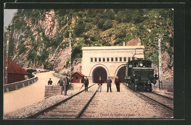 AK Iselle, Tunnel du Simplon, schweizer Eisenbahn