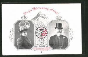 AK Silberne Hochzeit des Königspaares von Württemberg, Ganzsache