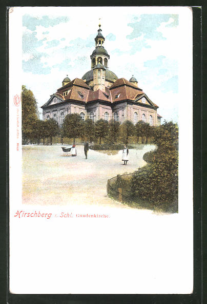 Glitzer-Perl-AK Hirschberg, Blick zur Gnadenkirche mit glitzernden Bäumen