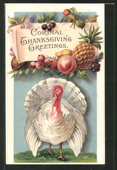 Präge-AK Cordial Thanksgiving Greetings, Truthahn
