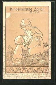 Künstler-AK Zürich, Karte zum Kinderhilfstag, Mädchen und Kleinkind auf der Blumenwiese