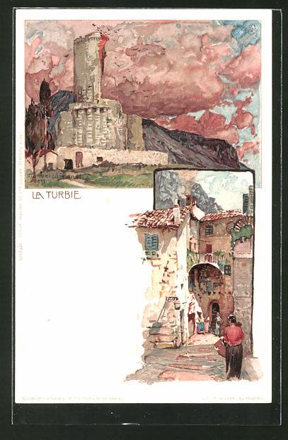 Künstler-AK Manuel Wielandt: La Turbie, Alte Gasse und Burgblick
