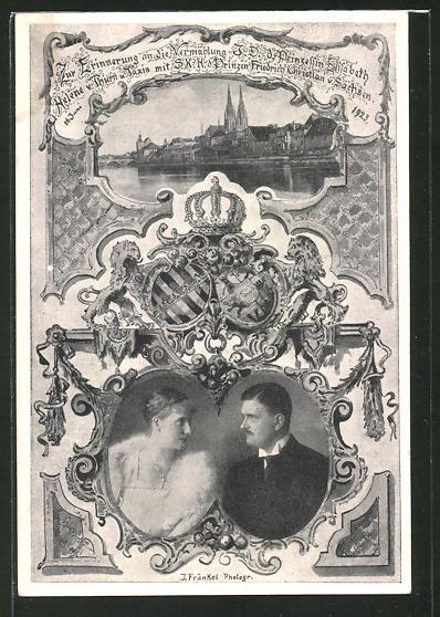 AK Vermählungsbild Prinzessin Elisabeth von Thurn & Taxis mit Prinz Friedrich Christian von Sachsen 1923