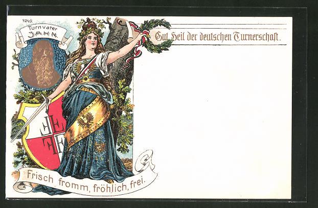 Künstler-AK Relief von Turnvater Jahn, Germania mit Lorbeerkranz