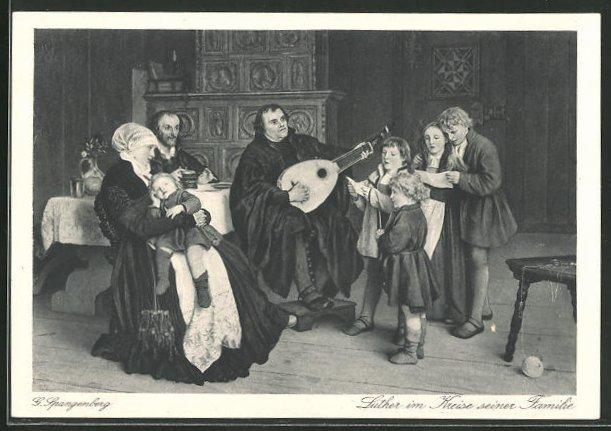 AK Martin Luther im Kreise seiner Familie