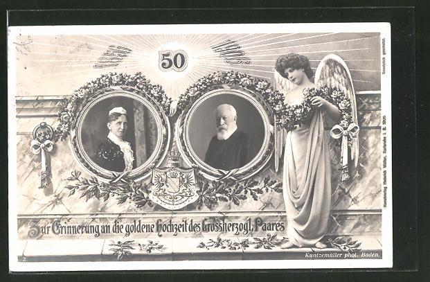 Ak Friedrich I Von Baden Nebst Gemahlin Goldene Hochzeit