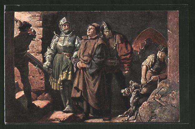 Künstler-AK Martin Luthers Ankunft auf der Wartburg