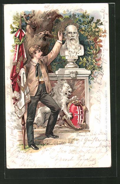 Lithographie Turner mit Fahne an der Büste Turnvater Jahns