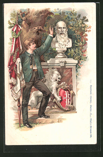 Lithographie Turner grüsst mit Fahne an der Büste Turnvater Jahns