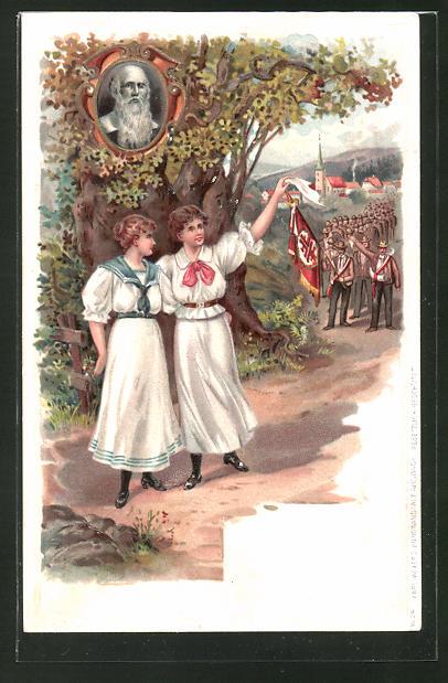 Präge-Lithographie Turner wandern aus dem Dorf, Turnvater Jahn als Portrait im Eichenbaum