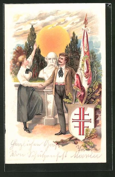 Präge-Lithographie Büste Turnvater Jahns & Paar mit Fahne und Turnerkreuz