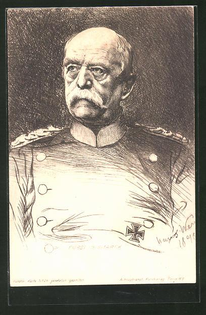 Künstler-AK Porträtzeichnung Bismarcks mit eisernem Kreuz
