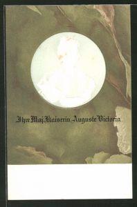 Präge-AK Profilbild Kaiserin Auguste Victoria Königin von Preussen als Relief
